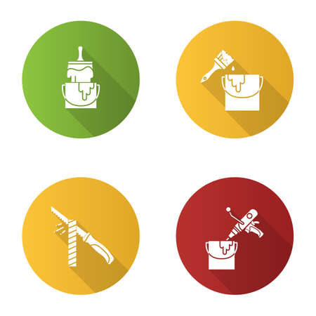 Construction tools flat design long shadow glyph icon. Buckets with paint and glue brushes, pad saw, paint mixer.