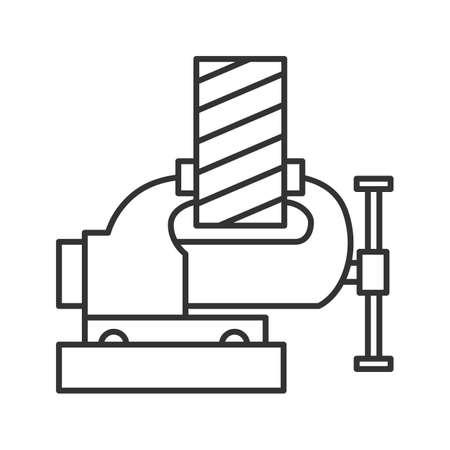 Lineares Symbol der Bankschraubstockbefestigung der Holzplanke. Dünne Linie Abbildung. Beinschraubstock. Kontursymbol. Vektorgrafik