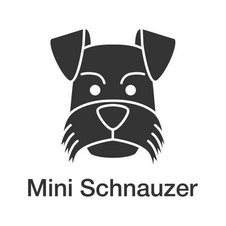 Miniature schnauzer glyph icon. Zwergschnauzer. Silhouette symbol. Negative space.