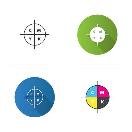 CMYK color circle model icon. Cyan, magenta, yellow, key scheme. Flat design, linear and color styles. Isolated vector illustrations