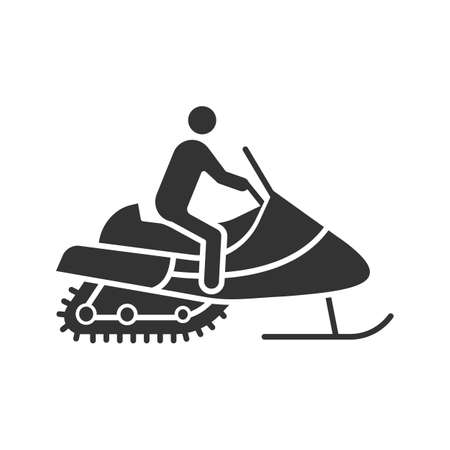 Man driving snowmobile glyph icon. Motor sled driver. Silhouette symbol. Negative space. Vector isolated illustration Illustration