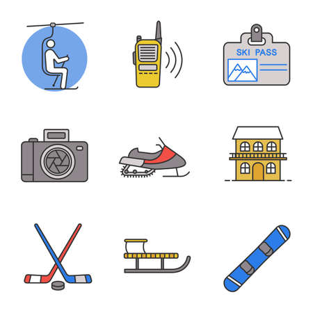 Winter activities color icons set. Chairlift, walkie talkie, ski pass, photo camera, snowmobile, cottage, ice hockey gear, sled, snowboard. Isolated vector illustrations
