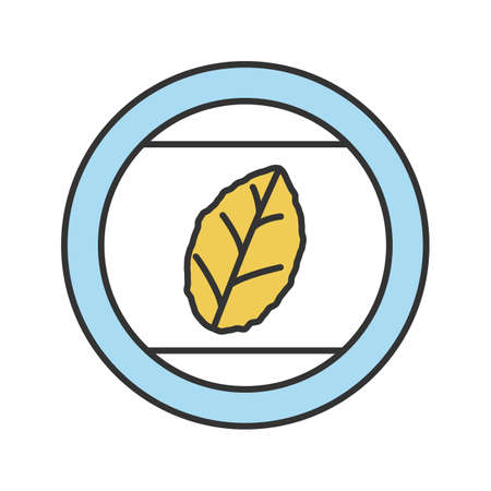 Round sticker with tobacco leaf color icon. Mint. Isolated vector illustration