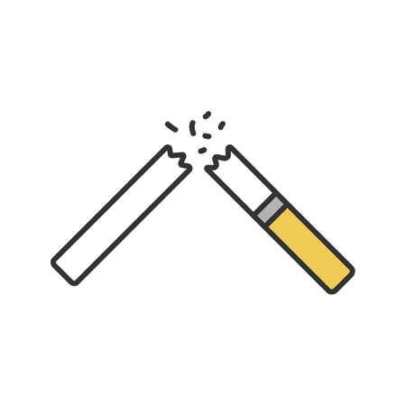 Gebroken sigaret kleur pictogram. Stoppen met roken. Geïsoleerde vectorillustratie