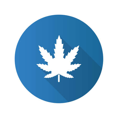 Marijuana leaf flat design long shadow glyph icon. Cannabis, ganja. Vector silhouette illustration Illustration