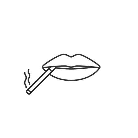 Cigarette in mouth linear icon. Thin line illustration. Smoking negative concept. Contour symbol. Vector isolated outline drawing Vettoriali