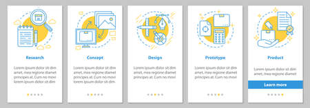 New product launch onboarding mobile app page screen with linear concepts. Manufacturing process steps graphic instructions. UX, UI, GUI vector template with illustrations