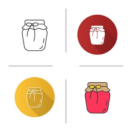 Icône de pot de confiture de fraises. Design plat, styles linéaires et couleurs. Conserves de fruits. Illustrations vectorielles isolées