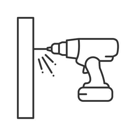Icono lineal de taladro inalámbrico. Ilustración de línea fina. Destornillador eléctrico portátil. Símbolo de contorno. Dibujo de contorno aislado del vector
