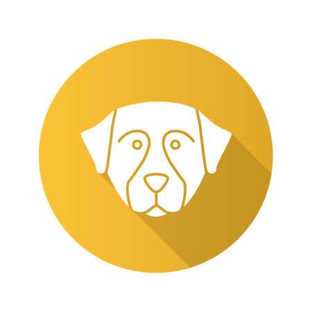 Bernese Mountain dog flat design long shadow glyph icon. Sennenhund dog. Vector silhouette illustration