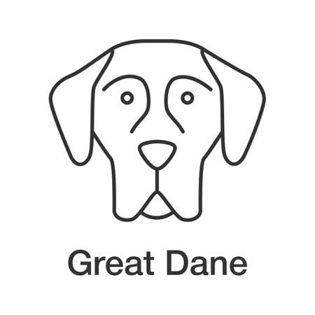 Great Dane linear icon. German Mastiff. Thin line illustration. Guardian dog breed. Contour symbol. Vector isolated outline drawing