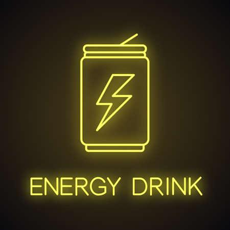 Bebida energética puede icono de luz de neón. Lata de aluminio con bebida. Signo brillante. Vector ilustración aislada