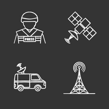 Mass media chalk icons set. Press. War correspondent, satellite signal, news van, radio tower. Isolated vector chalkboard illustrations