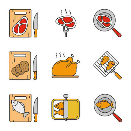 Food preparation color icons set. Cutting boards with bread, meat and fish, frying salmon and meat steaks, sprats, grilling chicken drumsticks and turkey. Isolated vector illustrations Illustration
