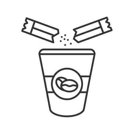 Aggiunta di zucchero all'icona lineare del caffè. Illustrazione al tratto sottile. Tazza da caffè usa e getta e bustina di zucchero. Simbolo di contorno. Illustrazione di contorno isolata di vettore Vettoriali