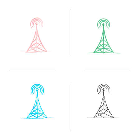 Radio tower hand drawn icons set. Antenna. Color brush stroke. Isolated vector sketchy illustrations Vector Illustration