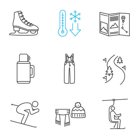 Winter activities linear icons set. Scarf, hat, cold weather, map,pants, skier, forest road, skate, chairlift. Thin line contour symbols. Isolated vector outline illustrations