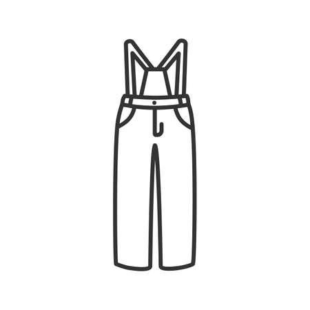 Icona lineare di pantaloni da sci. Inverno in generale. Illustrazione al tratto sottile. Bavaglino e tutore. Simbolo di contorno. Disegno di assieme isolato vettoriale