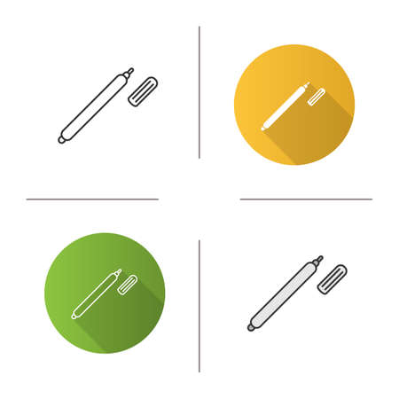 Marker pen icon. Highlighter. Flat design, linear and color styles. Isolated vector illustrations Иллюстрация