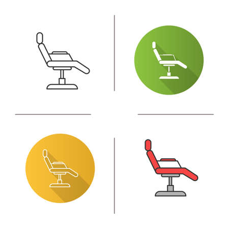 Tattoo chair icon. Flat design, linear and color styles. Isolated vector illustrations Illustration