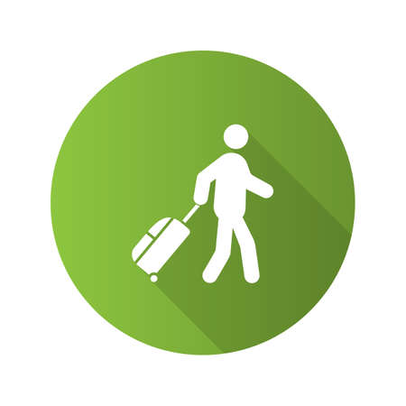 Person with baggage flat design long shadow glyph icon. Tourist, traveler. Passenger. Vector silhouette illustration