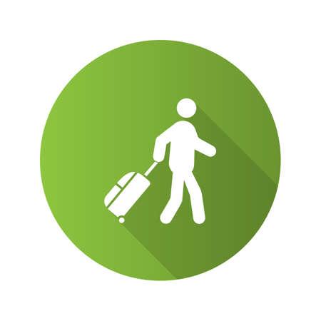 Persona con icona del glifo con lunga ombra design piatto bagagli. Turista, viaggiatore. Passeggeri. Illustrazione di sagoma vettoriale Vettoriali
