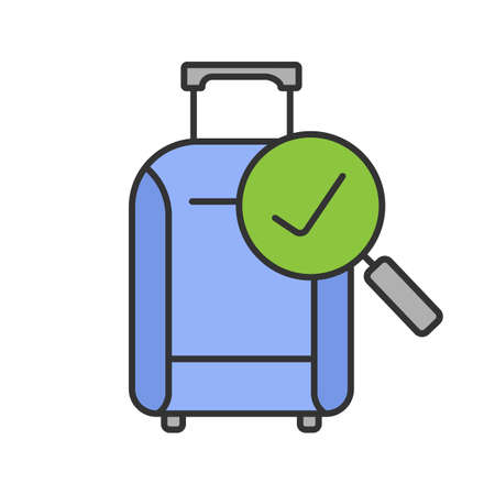 Baggage allowance color icon. Successful luggage check. Suitcase with checkmark. Isolated vector illustration  イラスト・ベクター素材
