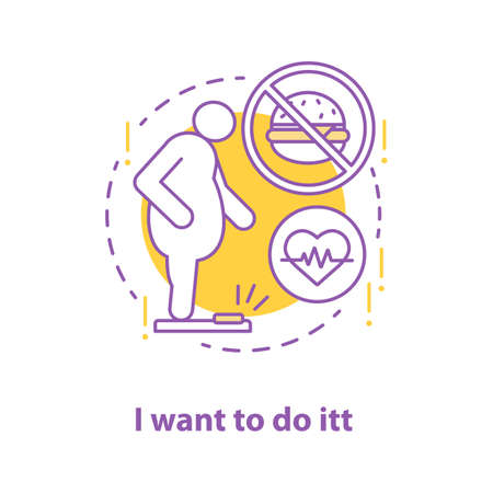 Readiness to lose weight concept icon. Obesity idea thin line illustration. Vector isolated outline drawing