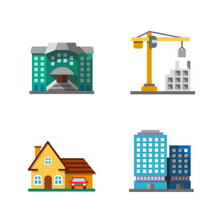 City buildings flat design long shadow color icons set. Hostel, constructing, cottage, office building. Vector silhouette illustrations