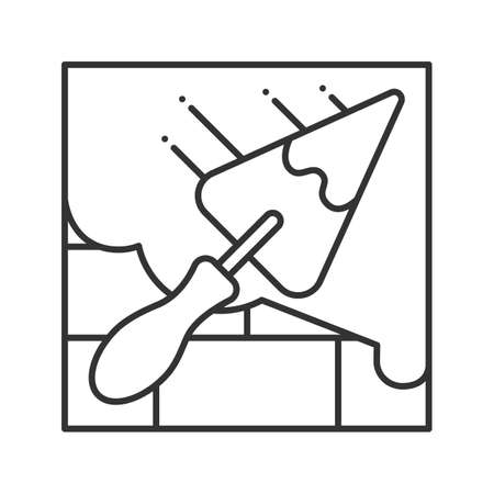 Brick wall with triangular shovel linear icon. Putty knife, spatula. Thin line illustration. Cement solution. Contour symbol. Vector isolated outline drawing Ilustração