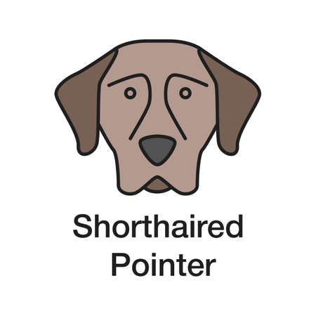 German Shorthaired Pointer color icon. Gundog breed. Isolated vector illustration