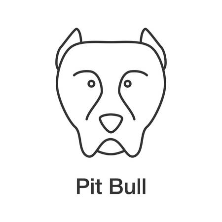 Pit Bull linear icon. Staffordshire Terrier. Thin line illustration. Fighting dog breed. Contour symbol. Vector isolated outline drawing