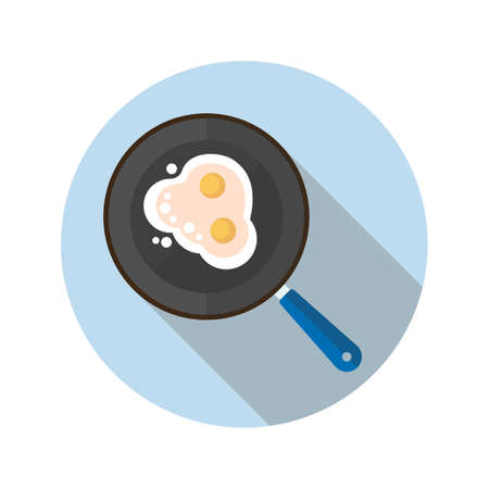 Fried eggs on pan flat design long shadow color icon. Vector silhouette illustration Vettoriali