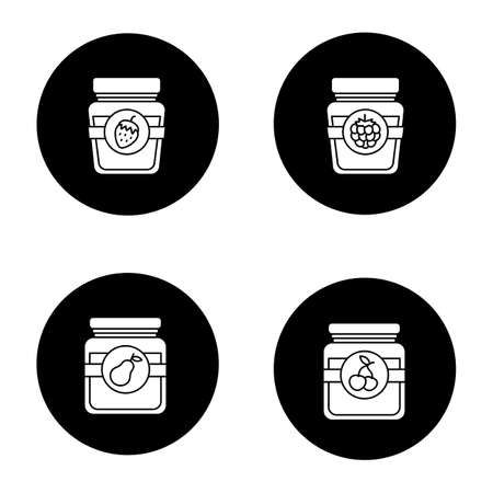Fruit preserves glyph icons set. Pear, cherry, raspberry and strawberry jam jars. Vector white silhouettes illustrations in black circles