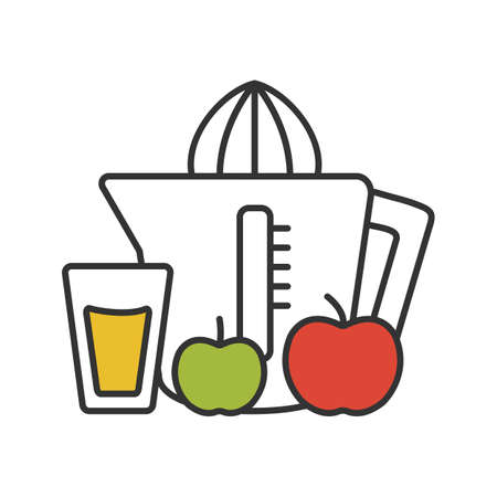 Juicer color icon. Juicing machine. Homemade apple juice. Isolated vector illustration