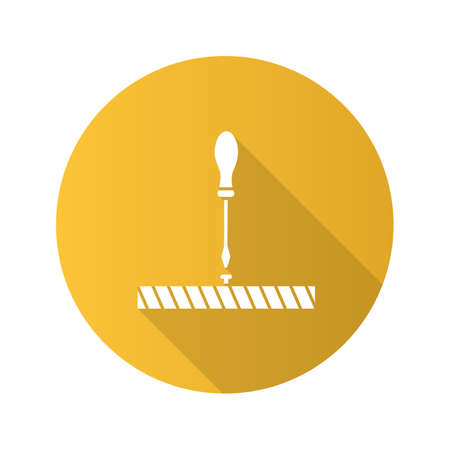 Screwdriver, turn screw flat linear long shadow icon. Vector outline symbol