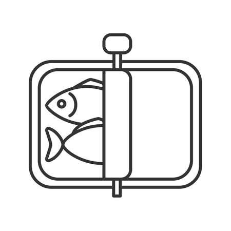 Icona lineare di spratti. Illustrazione al tratto sottile. Pesce in scatola. Simbolo di contorno. Disegno di assieme isolato vettoriale