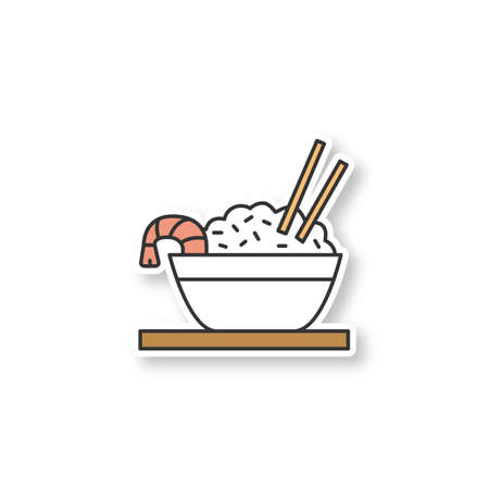 Rice with shrimps patch. Chinese fried rice in bowl and chopsticks. Color sticker. Vector isolated illustration Illustration
