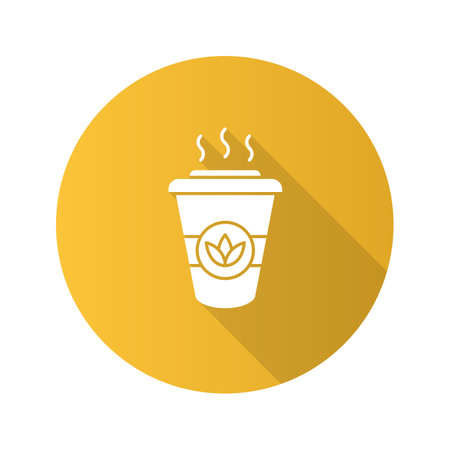 Tea to go flat design long shadow glyph icon. Detox drink. Disposable tea cup with lid. Vector silhouette illustration Фото со стока - 104389625