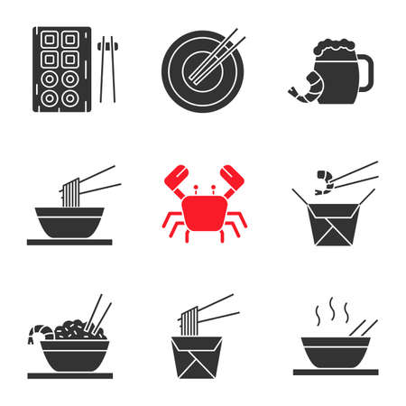 Chinese food glyph icons set. Sushi, noodles, ramen, fried rice with seafood chopsticks, beer, crab. Silhouette symbols. Vector isolated illustration