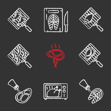 Food preparation chalk icons set. Barbecue. Grilling, salting, cutting, fish cooking in microwave oven, meat and sausages. Isolated vector chalkboard illustrations