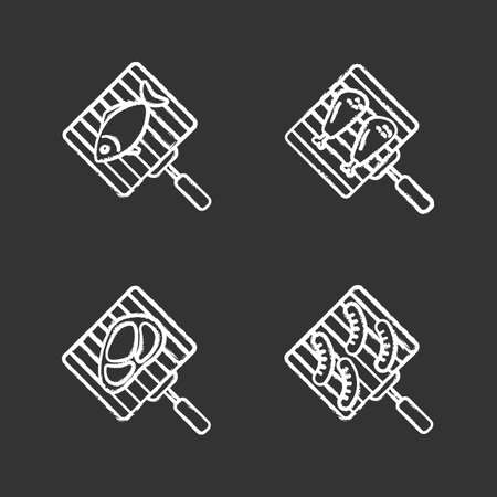 Barbecue chalk icons set. BBQ. Hand grills with fish, chicken drumsticks, meat steak and sausages. Isolated vector chalkboard illustrations