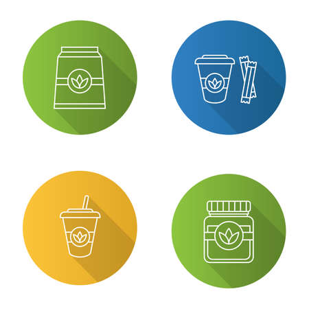 Tea drinks flat linear long shadow icons set. Detox herbs and cocktails. Vector outline illustration
