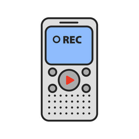 Dictaphone color icon. Portable audio recorder. Isolated vector illustration