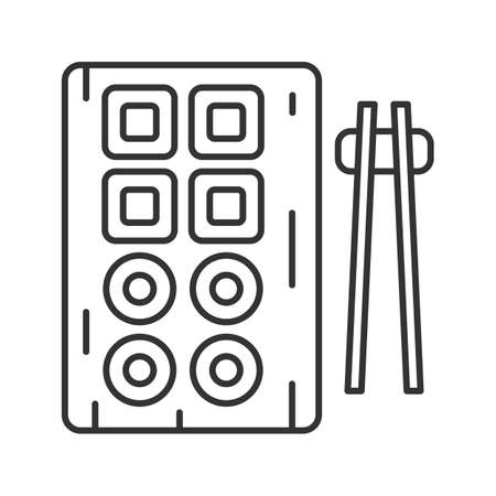 Sushi and chopsticks linear icon. Thin line illustration. Contour symbol. Vector isolated outline drawing  イラスト・ベクター素材