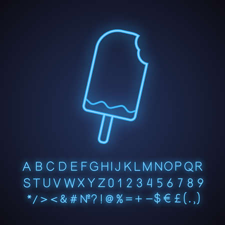 Bitten chocolate ice cream neon light icon. Glowing sign with alphabet, numbers and symbols. Vector isolated illustration
