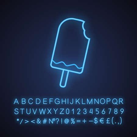 Gebissenes Schokoladeneis-Neonlichtikone. Leuchtendes Zeichen mit Alphabet, Zahlen und Symbolen. Vektor isolierte Illustration