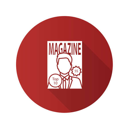 Magazine flat design long shadow glyph icon. Tabloid. Periodical publication with celebrity photo. Vector silhouette illustration