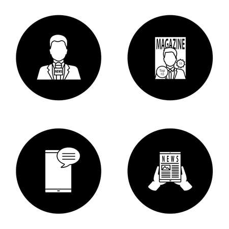 Mass media glyph icons set. Press. TV presenter, magazine, chatting, electronic newspaper. Vector white silhouettes illustrations in black circle