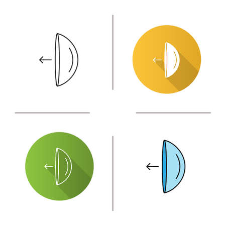 Eye contact lenses putting on instruction icon. Flat design, linear and color styles. Isolated vector illustrations Vettoriali